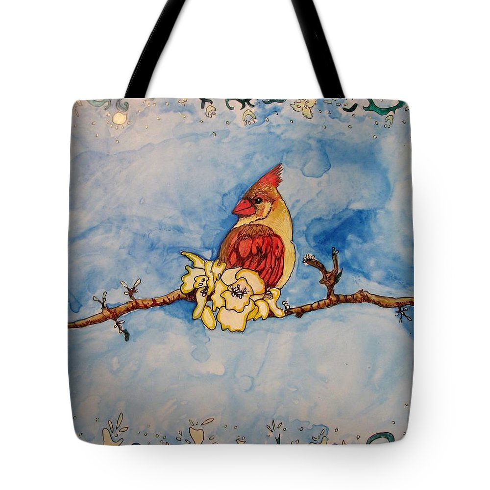 Cardinal Tote Bag featuring the painting A Birds Delight by Patricia Arroyo