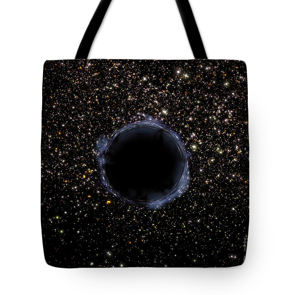 Color Image Tote Bag featuring the digital art A Black Hole In A Globular Cluster by Stocktrek Images