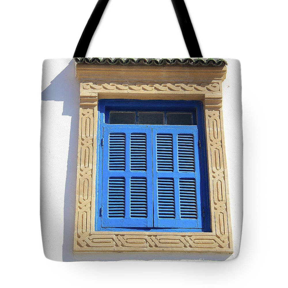 Morocco Tote Bag featuring the photograph A Blue Window In Morocco by Hilary Emberton