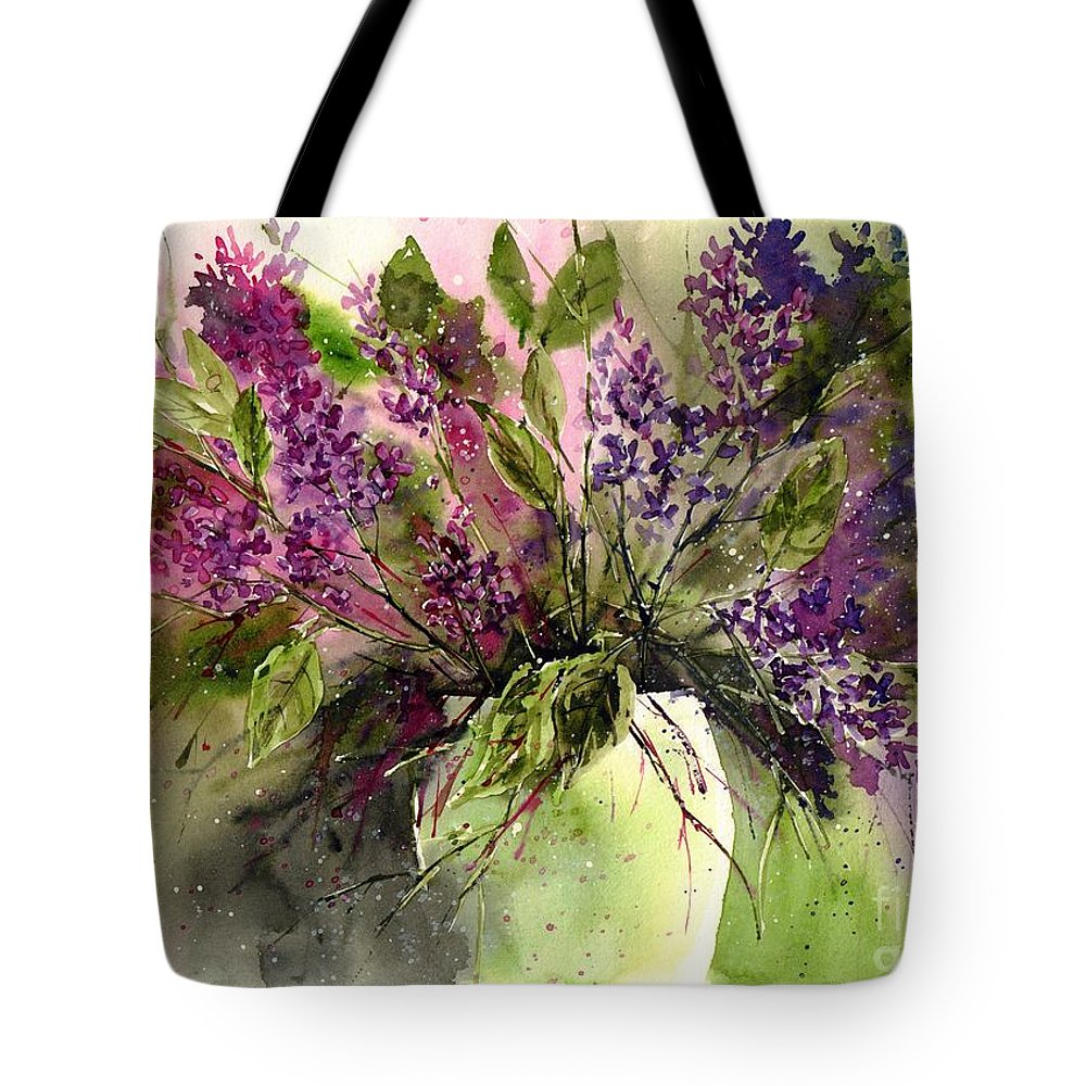 Floral Tote Bag featuring the painting A Bouquet Of May-lilacs by Suzann Sines
