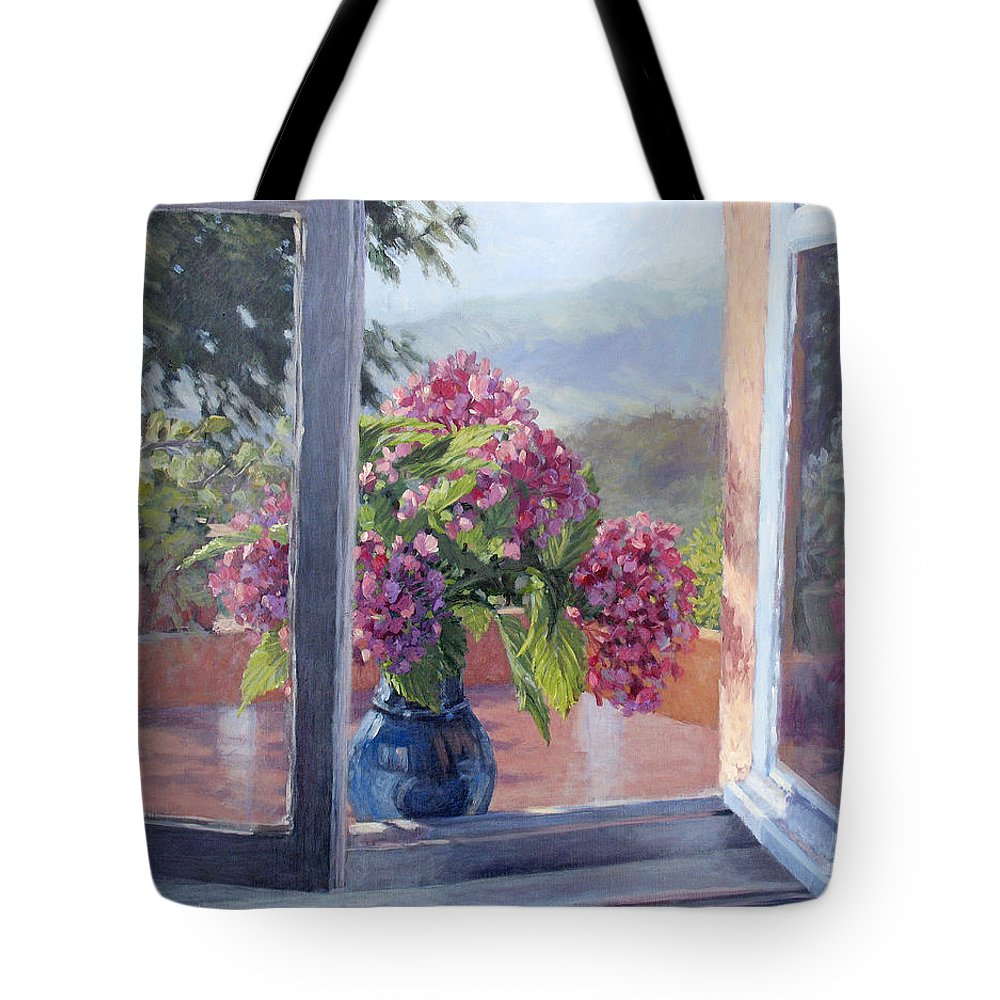 Landscape Painting Tote Bag featuring the painting A Brand New Day by L Diane Johnson
