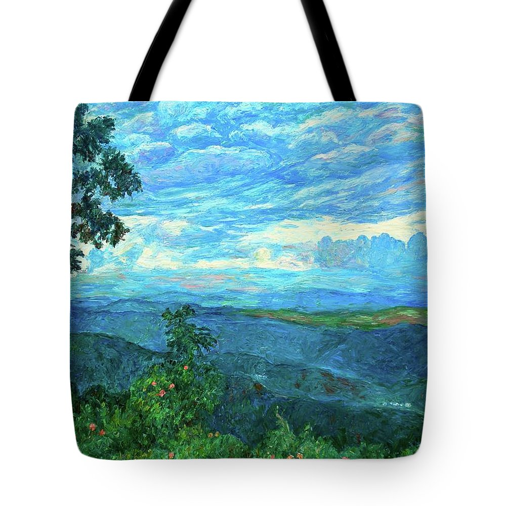Mountains Tote Bag featuring the painting A Break In The Clouds by Kendall Kessler