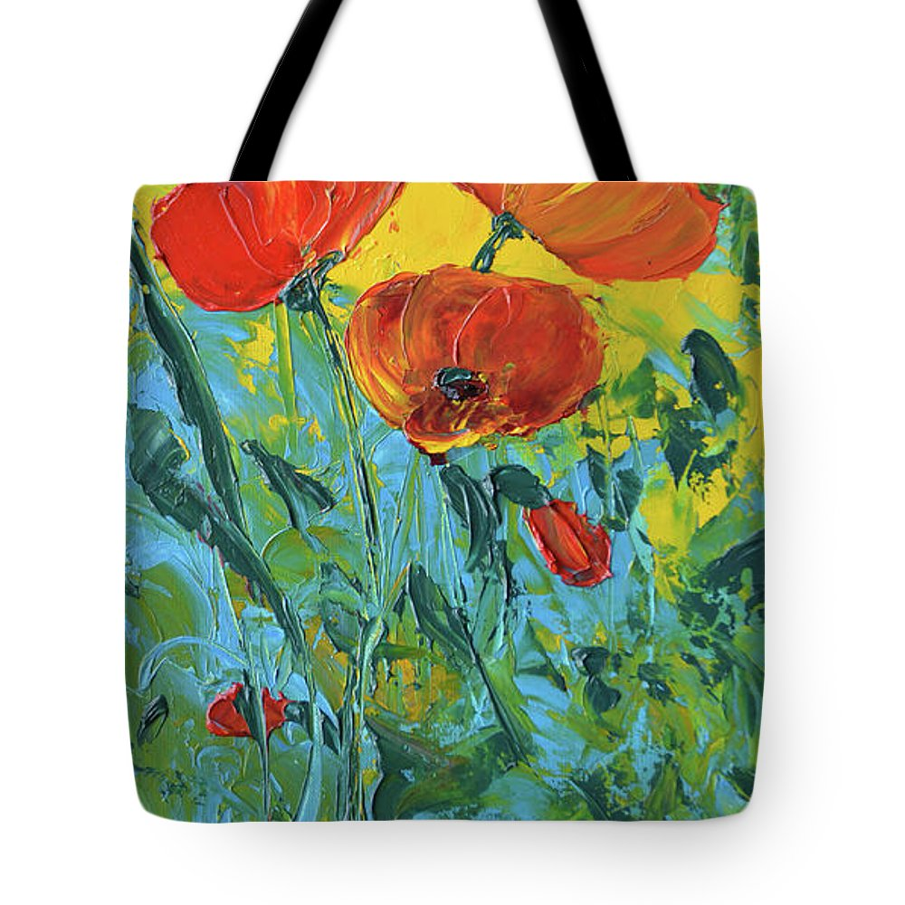 Poppies Tote Bag featuring the painting A Breath Of Spring by Lee Bauman