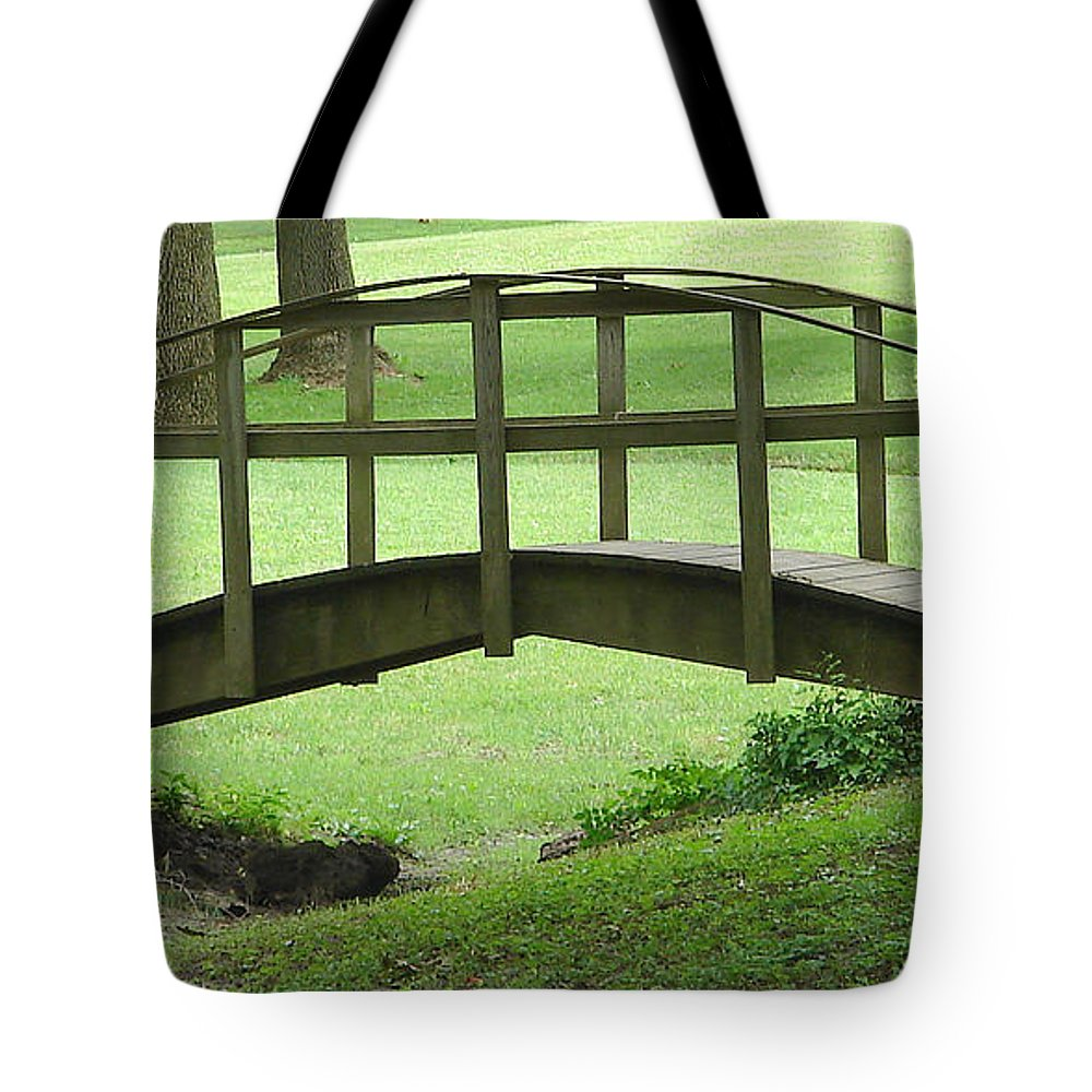 Bridge Green Grass Tote Bag featuring the photograph A Bridge In Washington County by Luciana Seymour