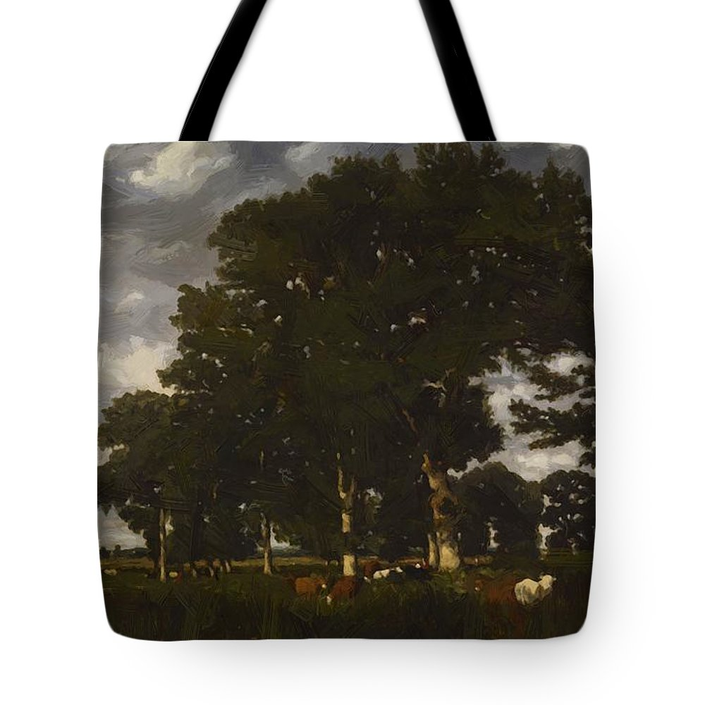 A Tote Bag featuring the painting A Bright Day 1840 by Dupre Jules