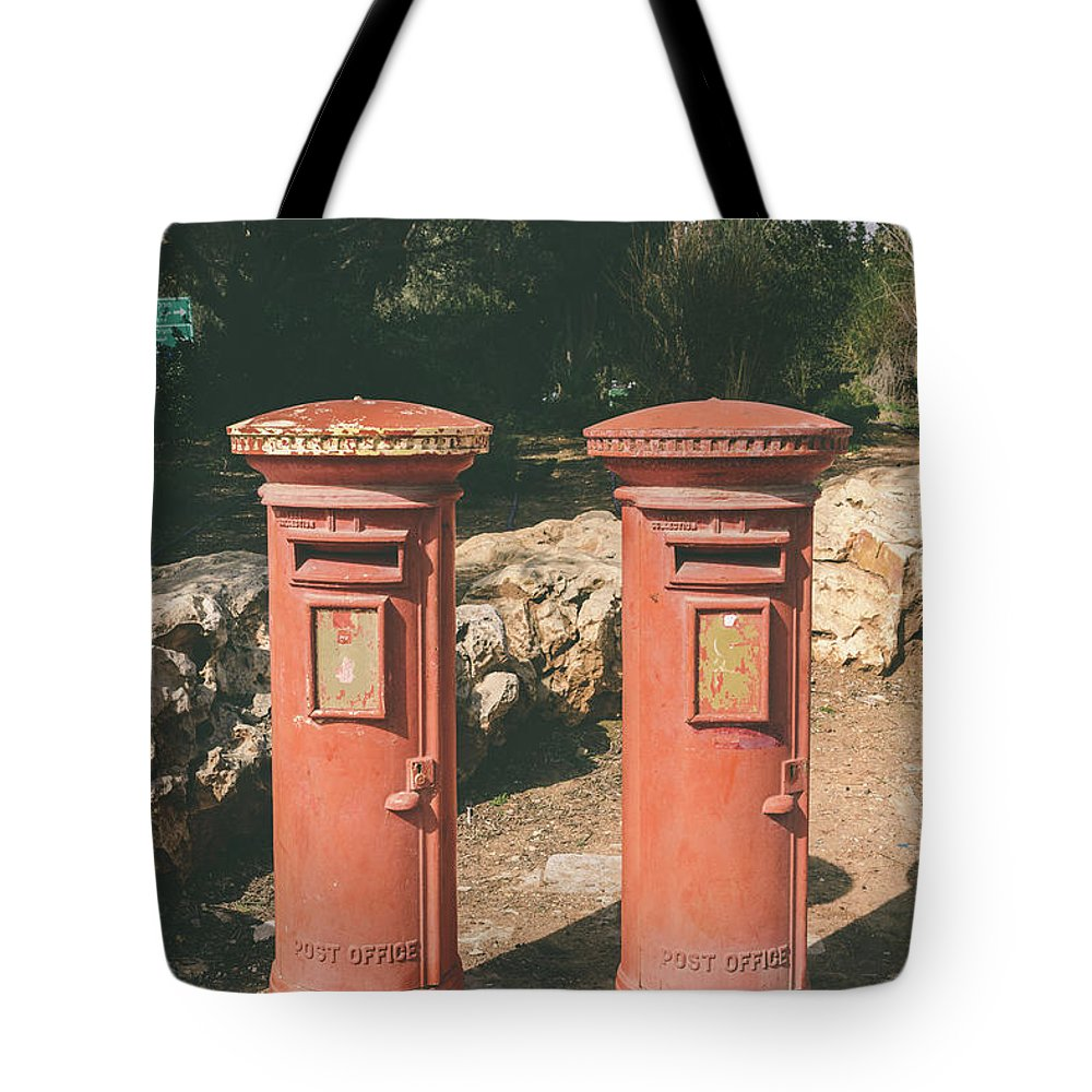9b3d5a29e9 Israel Tote Bag featuring the photograph A British Postbox In Israel by  Alexandre Rotenberg