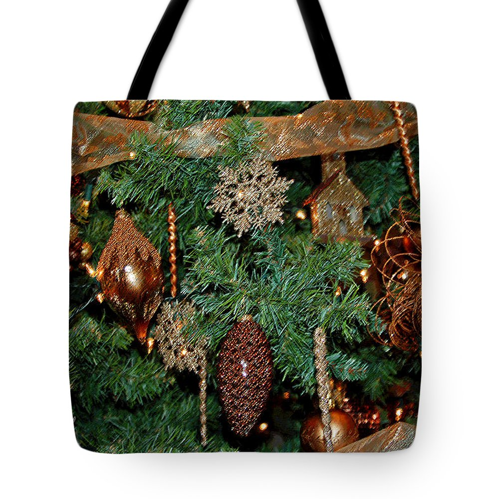 Christmas Tote Bag featuring the photograph A Bronze Christmas by Suzanne Gaff