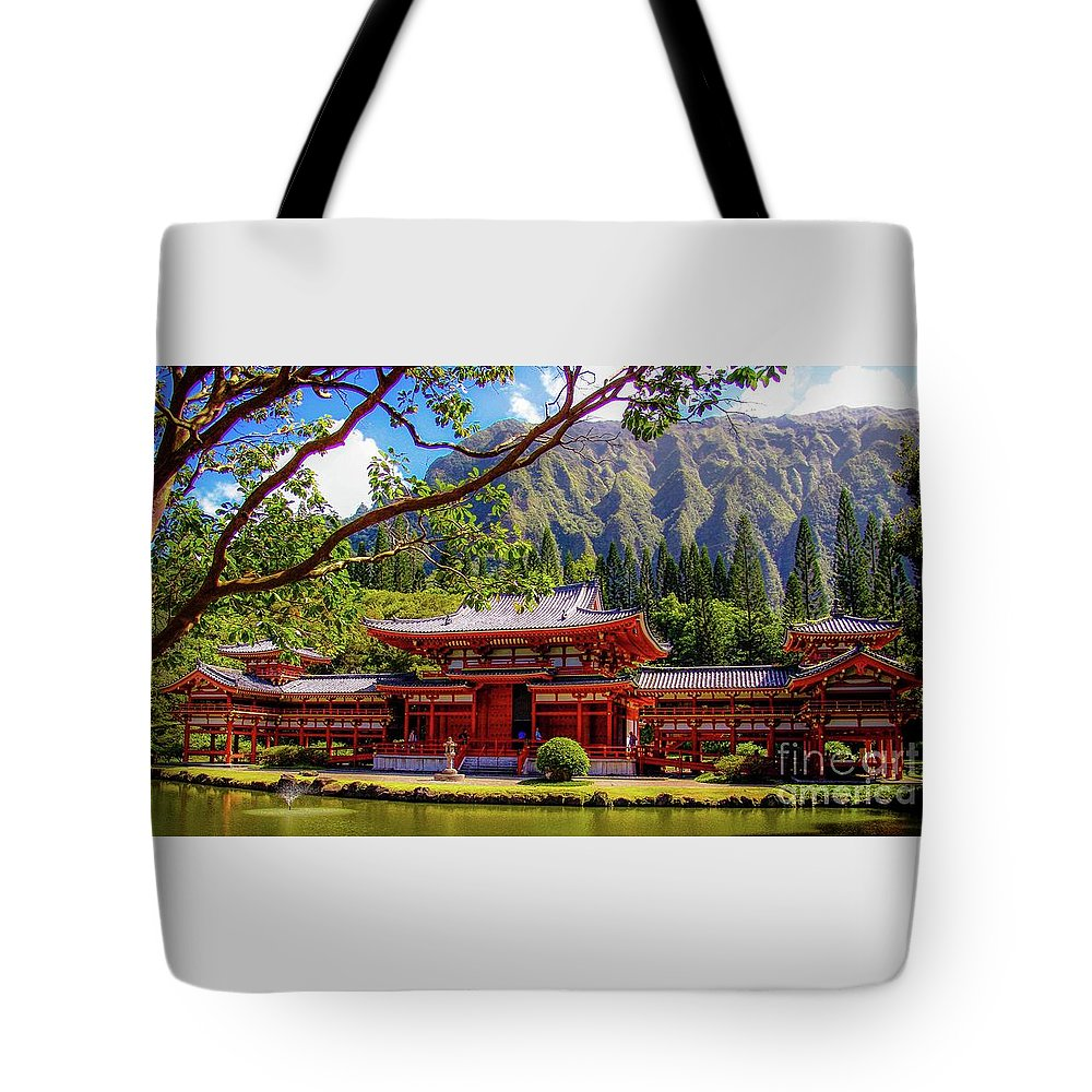 Buddhist Tote Bag featuring the photograph Buddhist Temple - Oahu, Hawaii - by D Davila