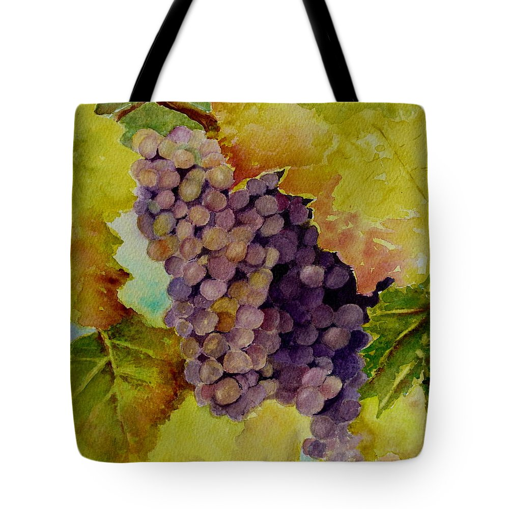 Grapes Tote Bag featuring the painting A Bunch Of Grapes by Karen Fleschler