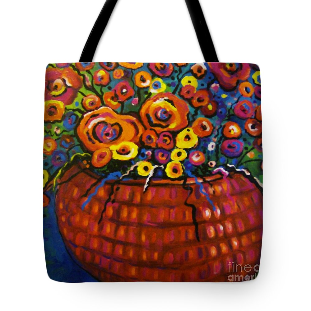 Floral Tote Bag featuring the painting A Bunch Of Poppies by Sidra Myers