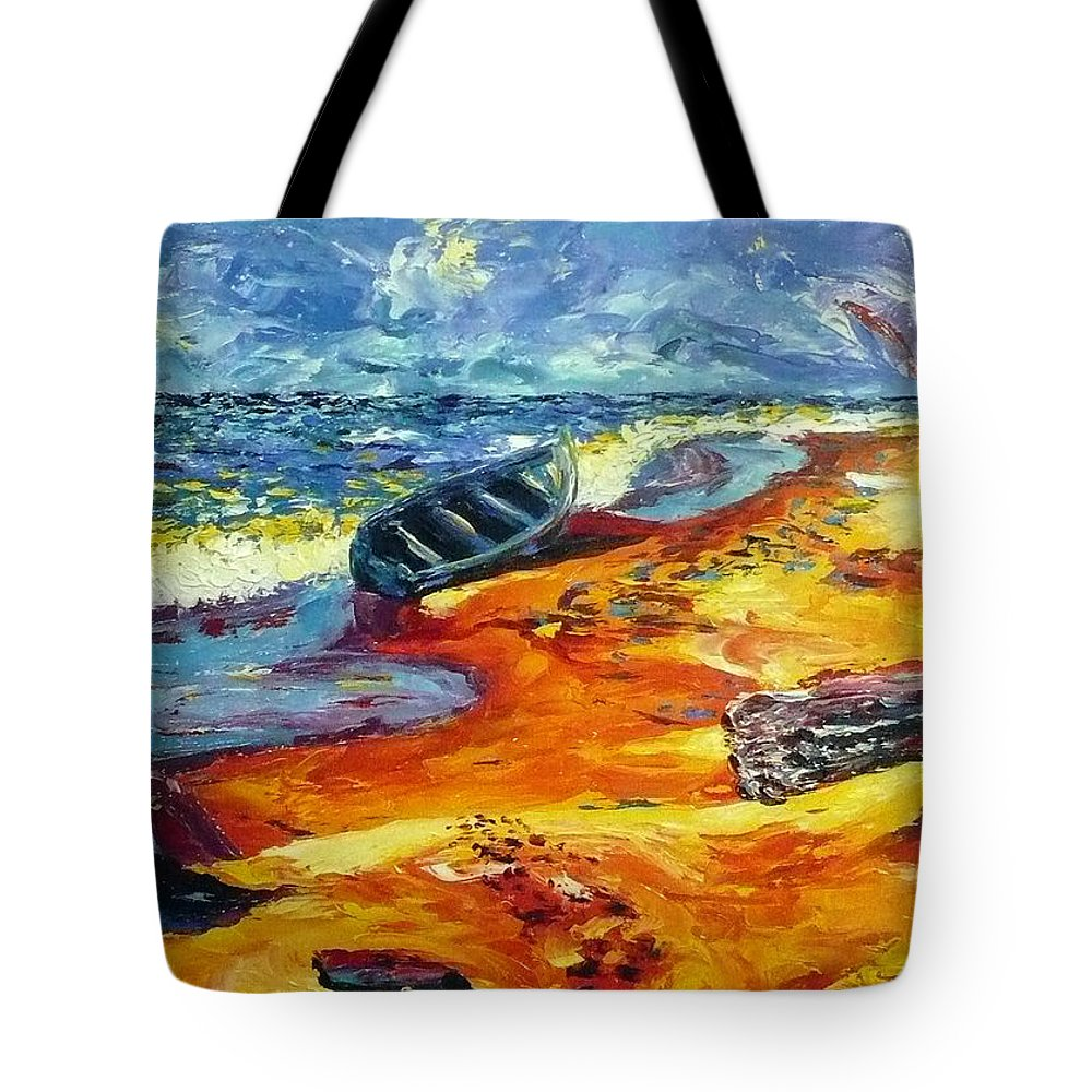 Landscape Tote Bag featuring the painting A Canoe At The Beach by Ericka Herazo