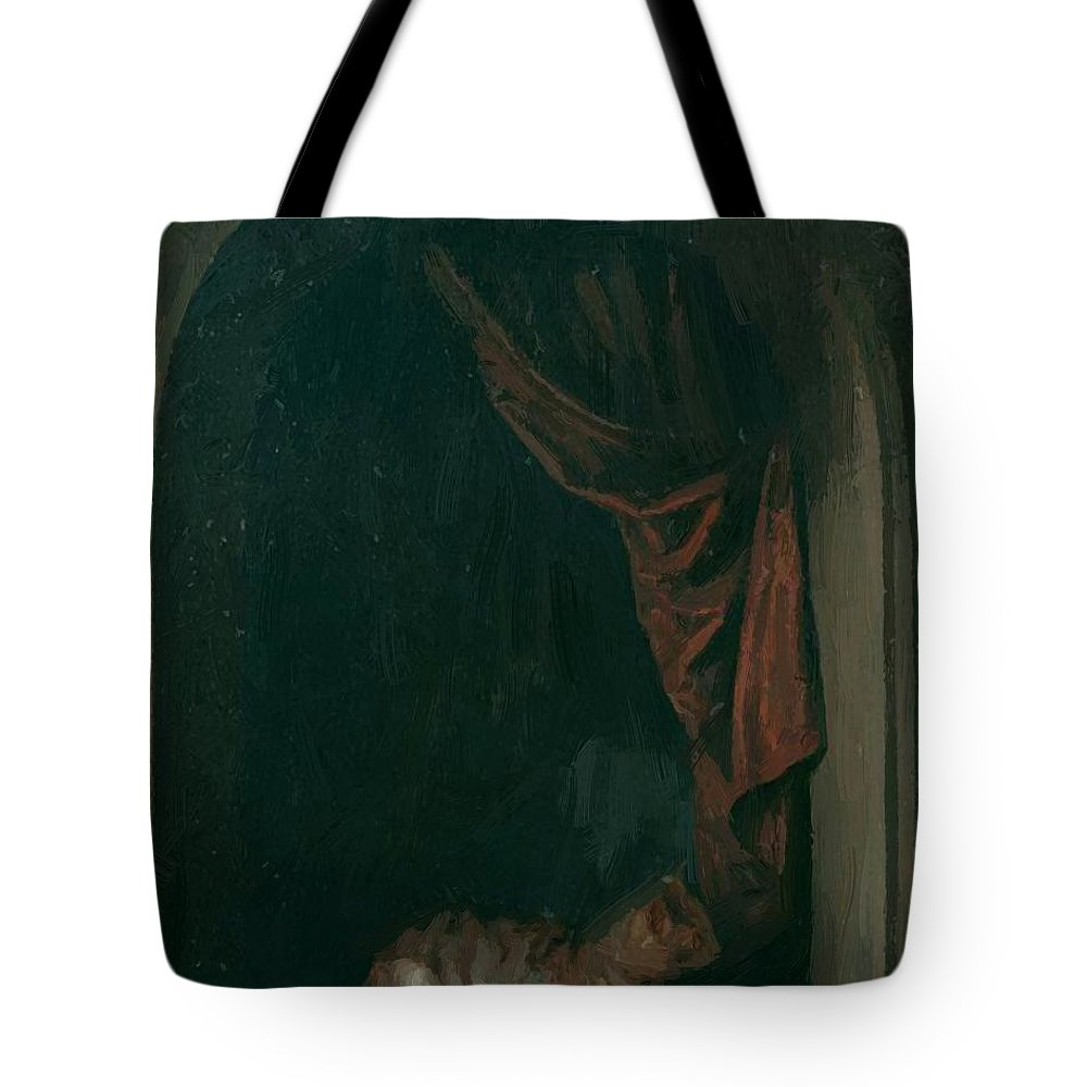 A Tote Bag featuring the painting A Cat At The Window Of A Painters Studios 1657 by Dou Gerrit