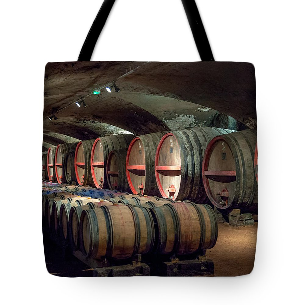 Brouilly Tote Bag featuring the photograph A Cellar Of Burgundy by W Chris Fooshee