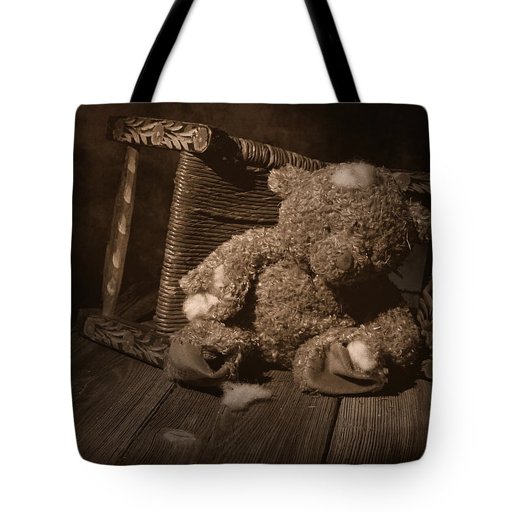 Teddy Bear Tote Bag featuring the photograph A Child Once Loved Me by Tom Mc Nemar