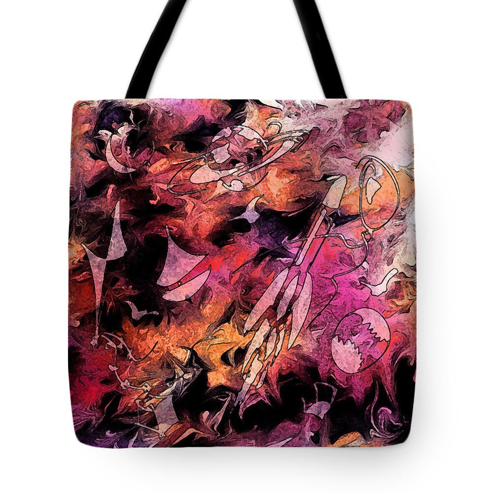 Abstract Tote Bag featuring the digital art A Childhood by Rachel Christine Nowicki