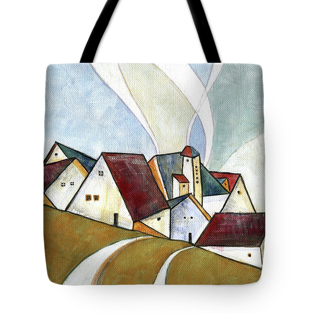 Original Art Tote Bag featuring the painting  A Cold Day by Aniko Hencz