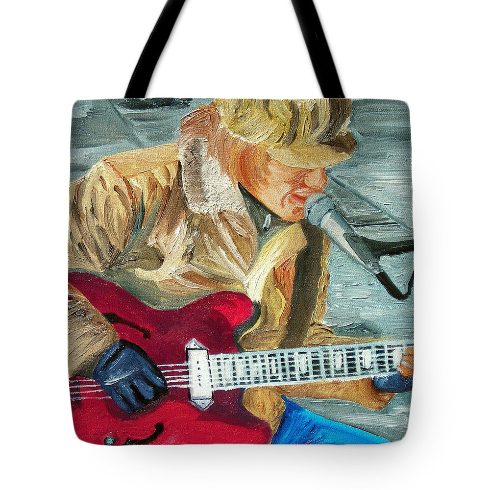 Street Musician Tote Bag featuring the painting A Cold Day To Play by Michael Lee