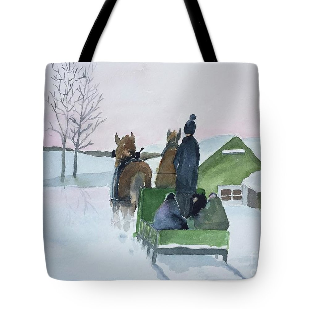 Cold Tote Bag featuring the painting A Cold Ride by Christine Lathrop