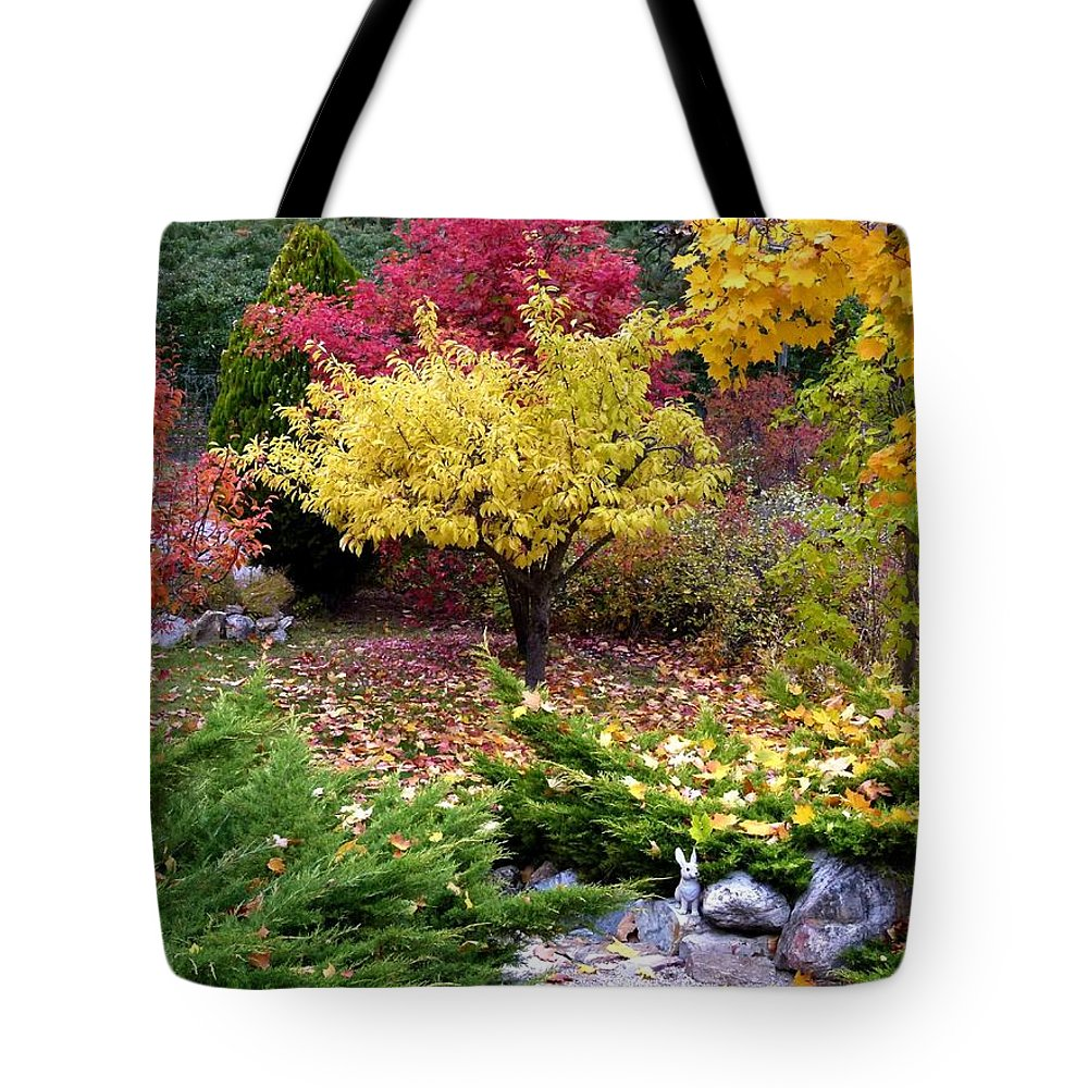A Colorful Fall Corner Tote Bag featuring the photograph A Colorful Fall Corner by Will Borden