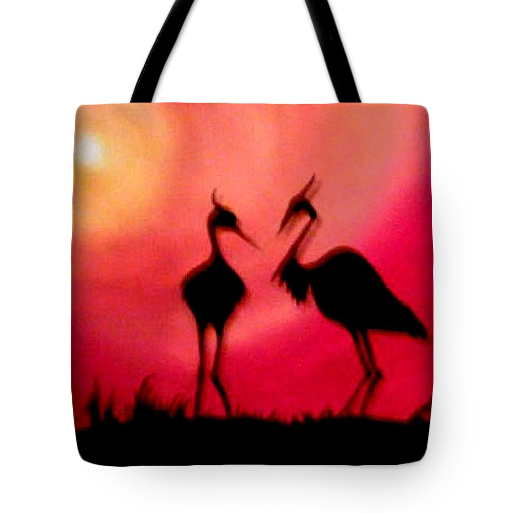 Swans Tote Bag featuring the painting A Conversation by Glory Fraulein Wolfe