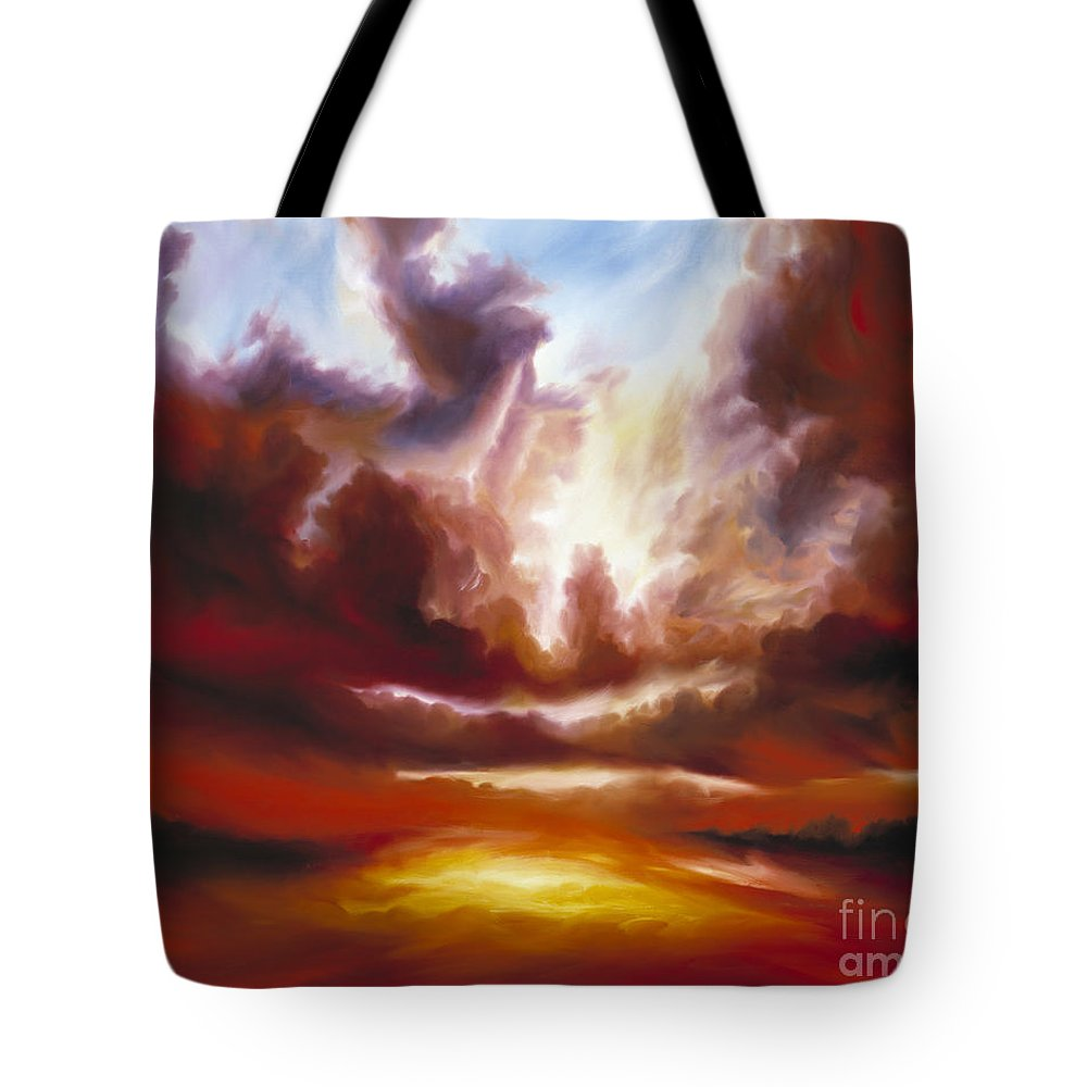 Tempest Tote Bag featuring the painting A Cosmic Storm - Genesis V by James Christopher Hill