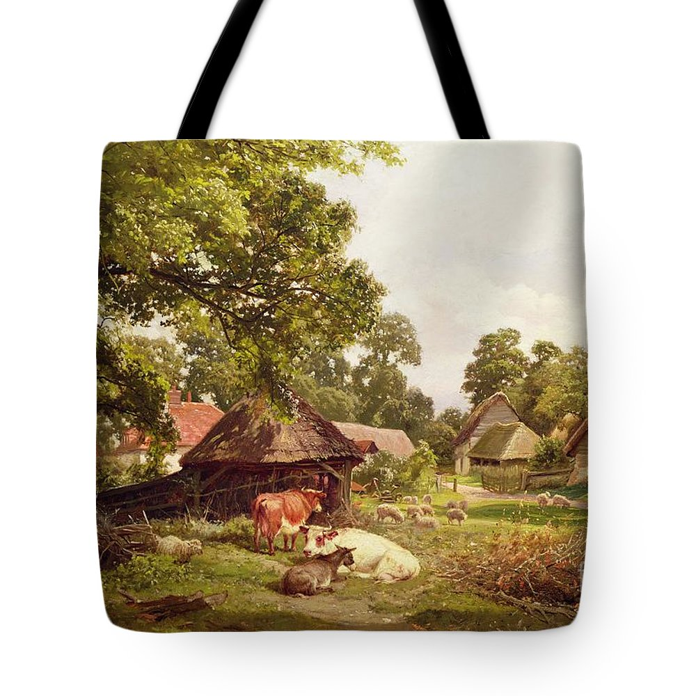 Cottage Tote Bag featuring the painting A Cottage Home In Surrey by Edward Henry Holder