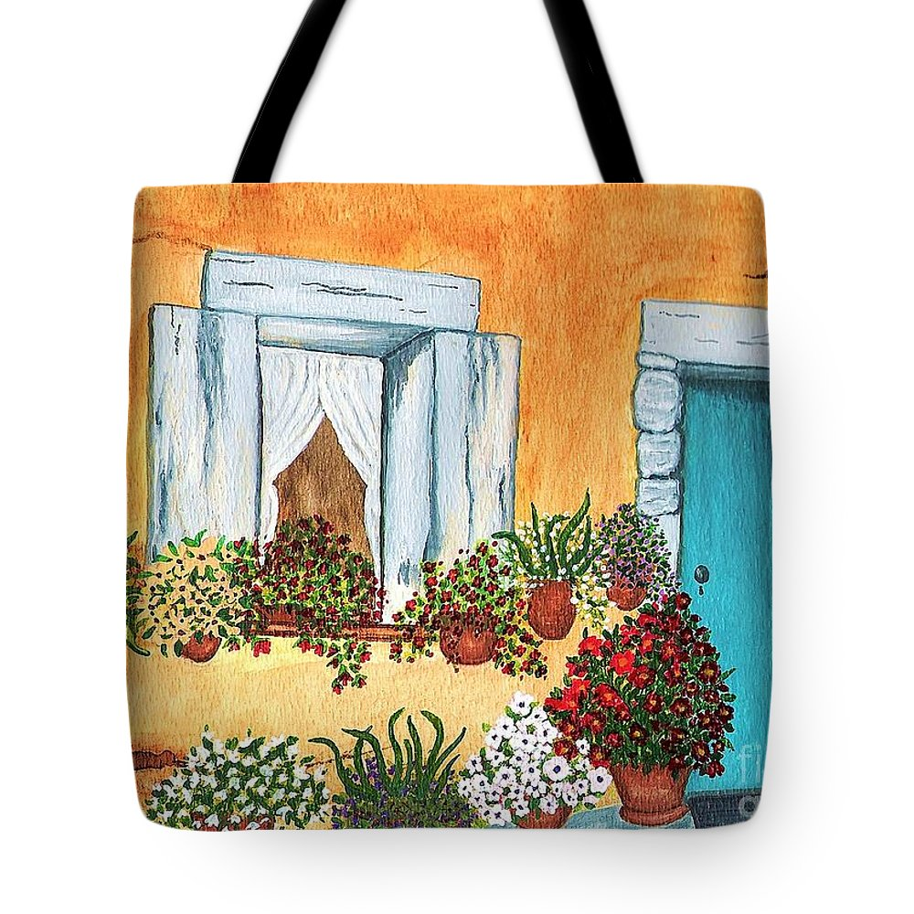 Watercolor Painting Tote Bag featuring the painting A Cottage In The Village by Patricia Griffin Brett