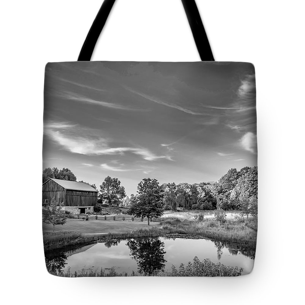 Pond Tote Bag featuring the photograph A Country Place Bw by Steve Harrington