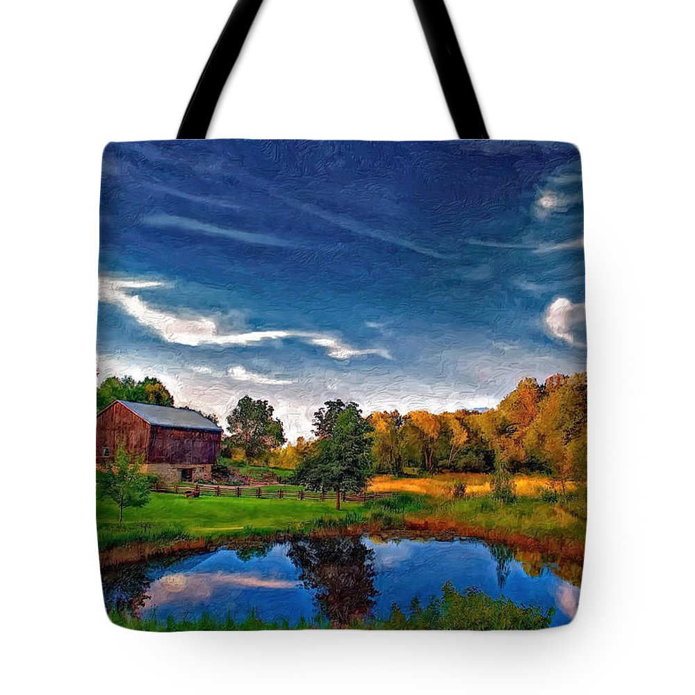 Pond Tote Bag featuring the photograph A Country Place Painted Version by Steve Harrington