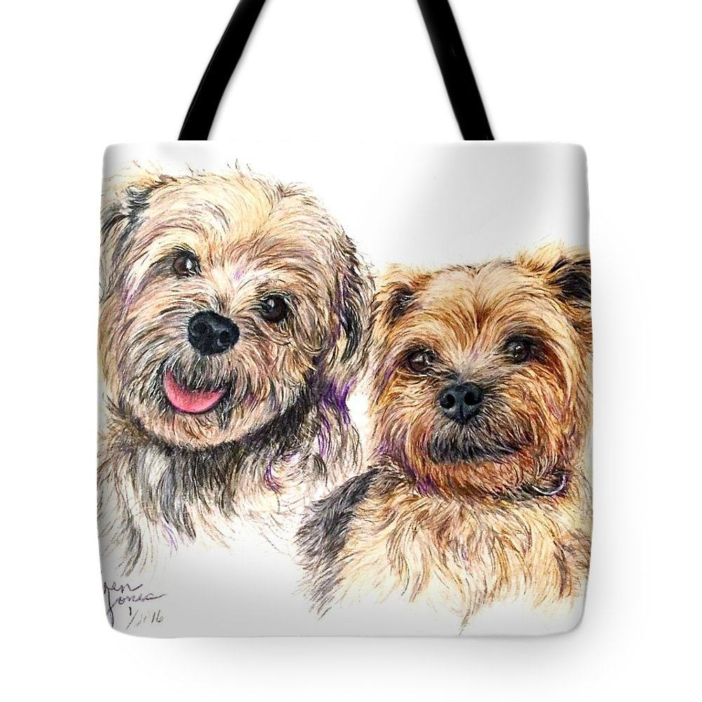 Dogs Tote Bag featuring the drawing A Couple Of Yorkies by Karen Janelle