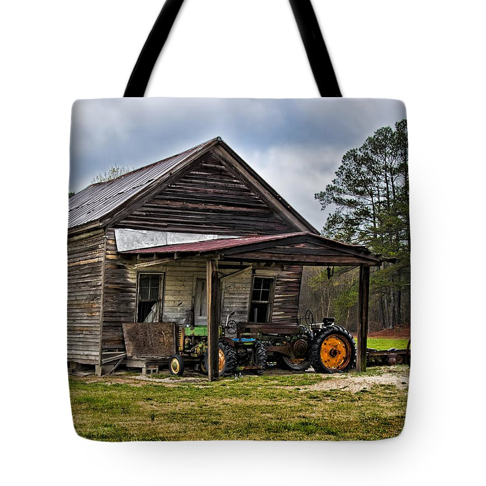 Barn Tote Bag featuring the photograph A Crooked Little Barn by Christopher Holmes