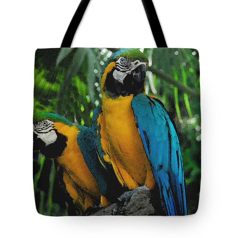 Tropical Tote Bag featuring the painting A Curious Pair by David Lee Thompson