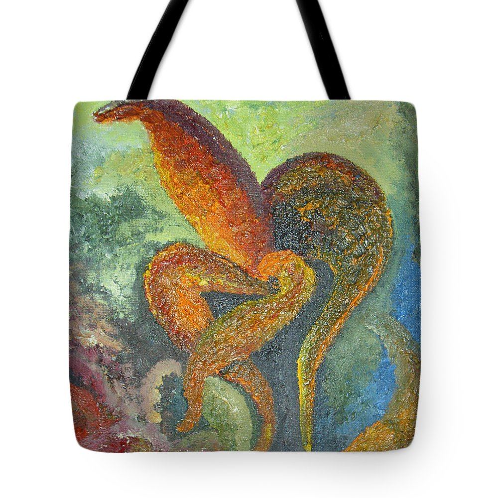Flower Tote Bag featuring the painting A Dancing Flower by Karina Ishkhanova