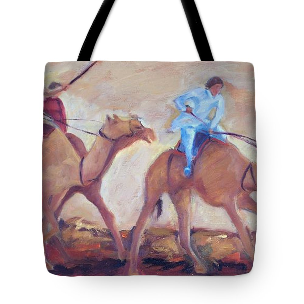 Figurative Tote Bag featuring the painting A Day At The Camel Races by Ginger Concepcion