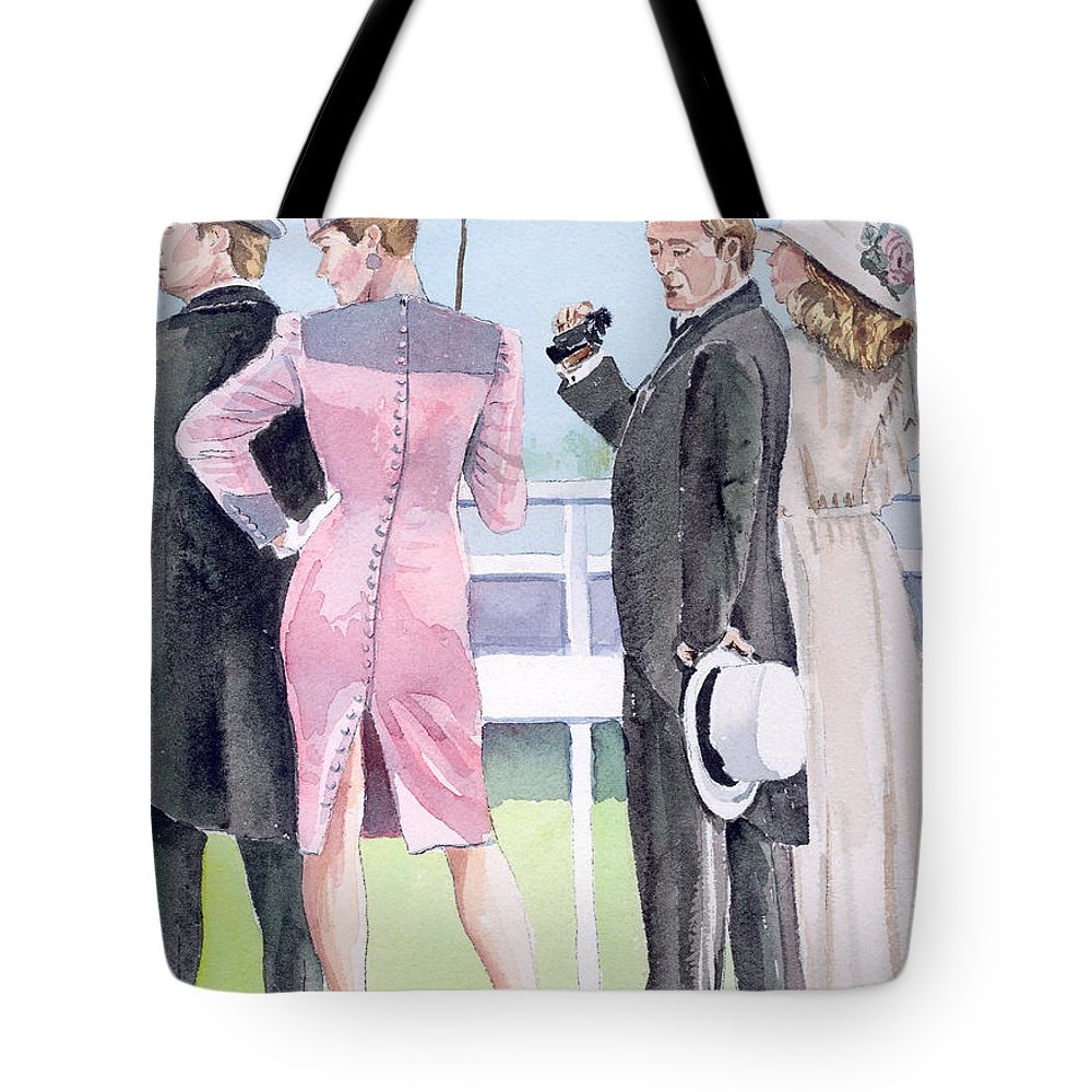 Race Track Tote Bag featuring the painting A Day At The Races by Arline Wagner