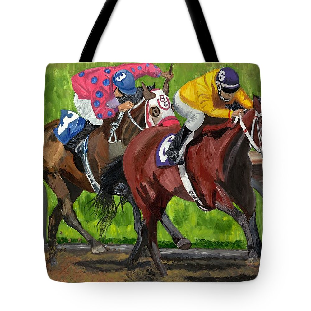 Horse Racing Tote Bag featuring the painting A Day At The Races by Michael Lee