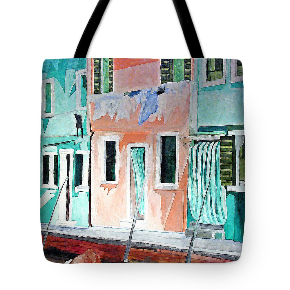 Italy Tote Bag featuring the painting A Day In Burrano by Patricia Arroyo