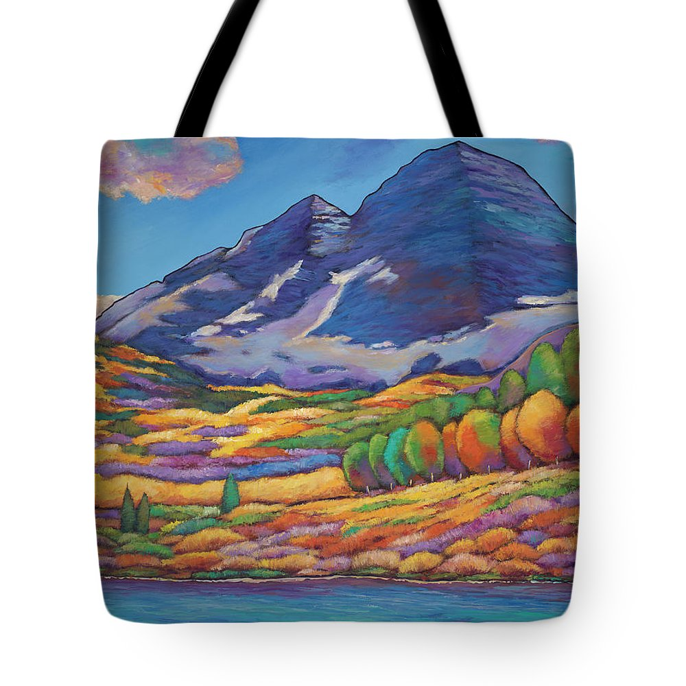 Aspen Tree Landscape Tote Bag featuring the painting A Day in the Aspens by Johnathan Harris