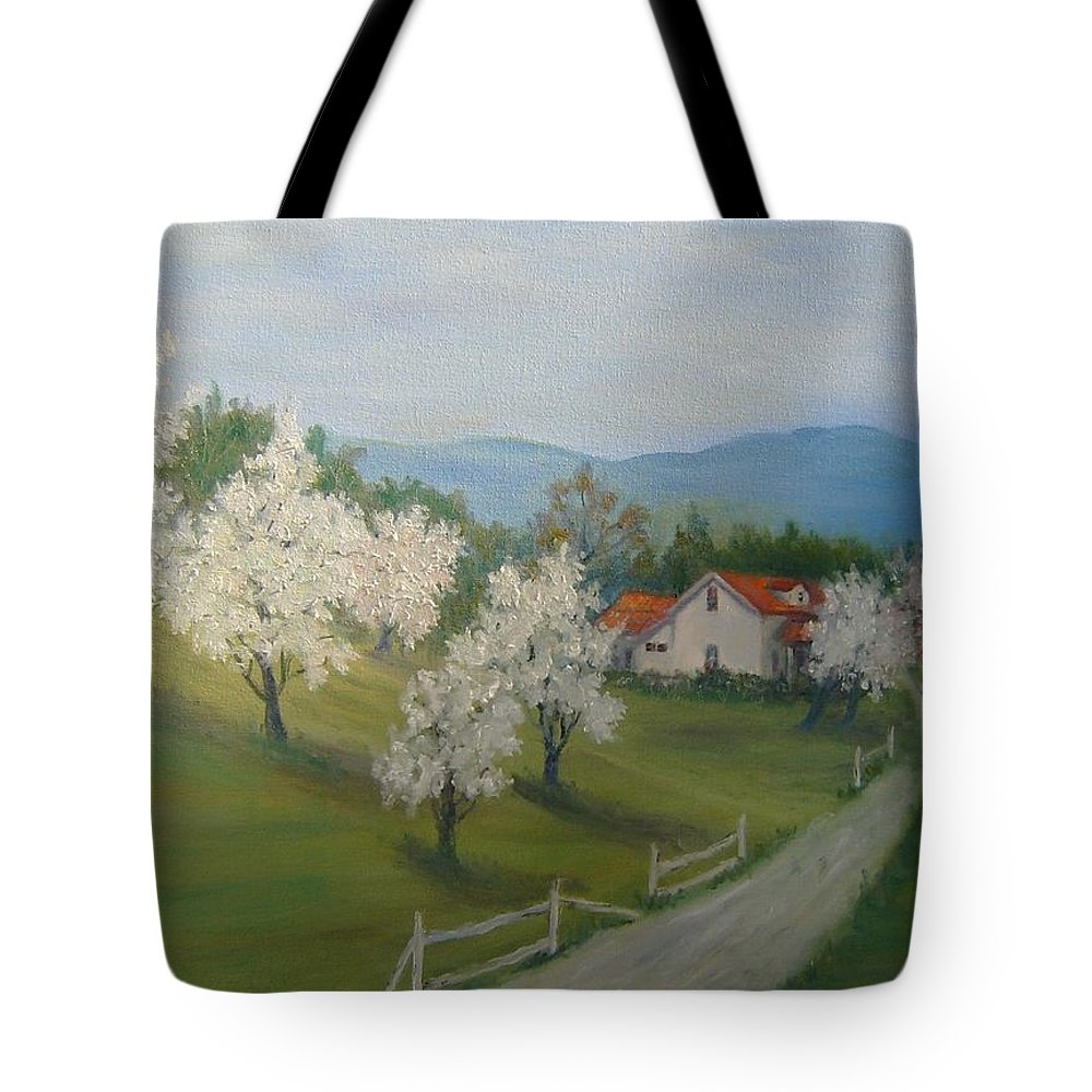 Landscape; Spring; Mountains; Country Road; House Tote Bag featuring the painting A Day In The Country by Ben Kiger