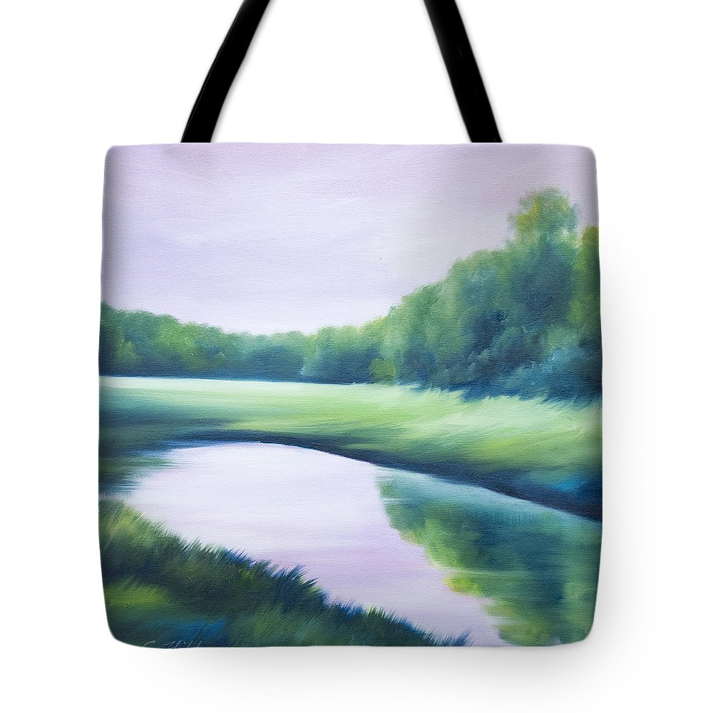 Nature; Lake; Sunset; Sunrise; Serene; Forest; Trees; Water; Ripples; Clearing; Lagoon; James Christopher Hill; Jameshillgallery.com; Foliage; Sky; Realism; Oils; Green; Tree; Blue; Pink; Pond; Lake Tote Bag featuring the painting A Day In The Life 1 by James Christopher Hill