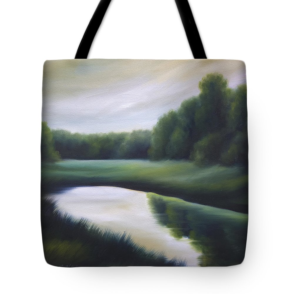 Nature; Lake; Sunset; Sunrise; Serene; Forest; Trees; Water; Ripples; Clearing; Lagoon; James Christopher Hill; Jameshillgallery.com; Foliage; Sky; Realism; Oils; Green; Tree Tote Bag featuring the painting A Day In The Life 3 by James Christopher Hill