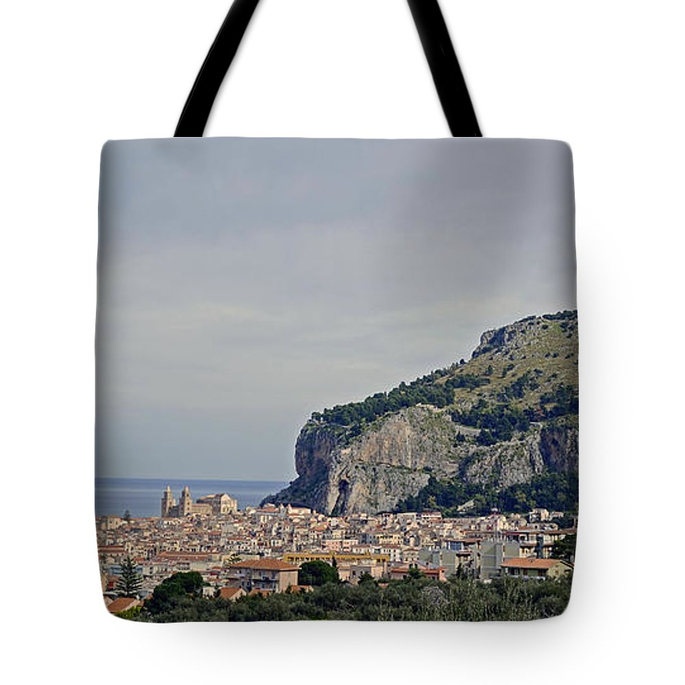 Sicily Tote Bag featuring the photograph A Distant View Cefalu Sicily by Richard Rosenshein