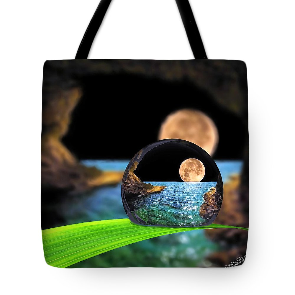 Tote Bag featuring the digital art A Drop In The Ocean by Caroline Peklivana