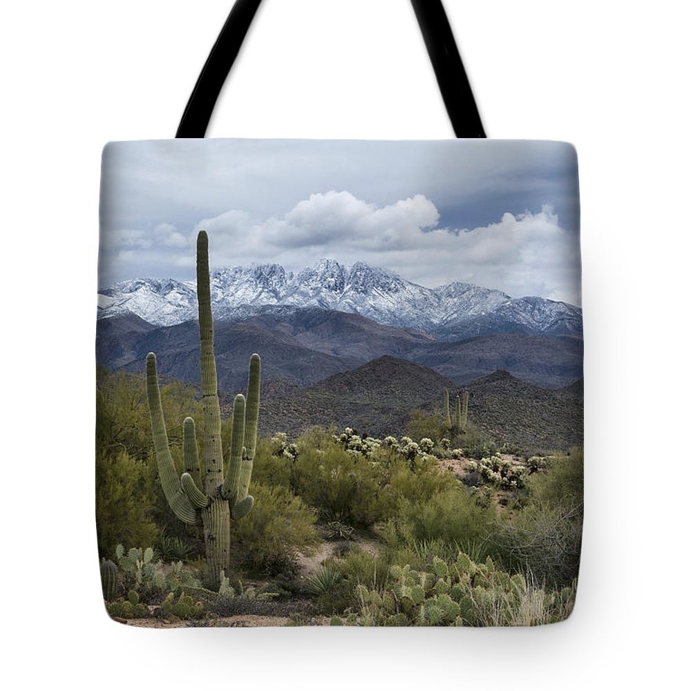Arizona Tote Bag featuring the photograph A Dusting Of Snow In The Sonoran Desert by Saija Lehtonen