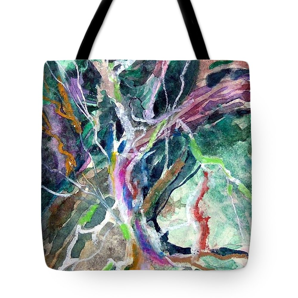 Tree Tote Bag featuring the painting A Dying Tree by Mindy Newman