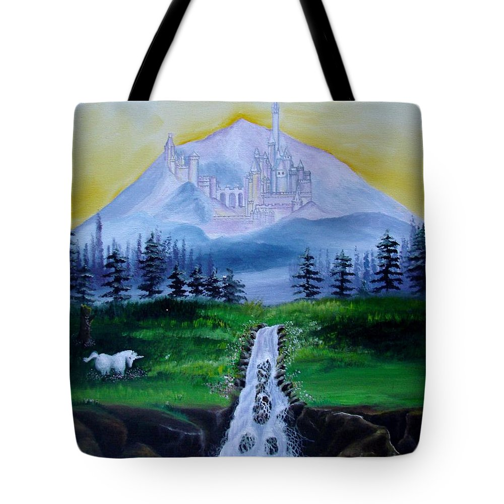 Landscape Tote Bag featuring the painting A Fairytale by Glory Fraulein Wolfe