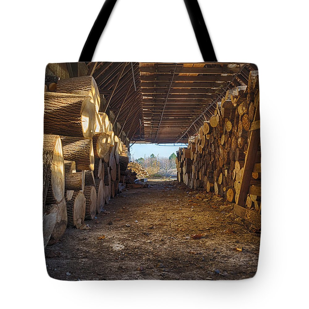Farm Tote Bag featuring the photograph Woodpile At Lusscroft Farm In Color by John Prause