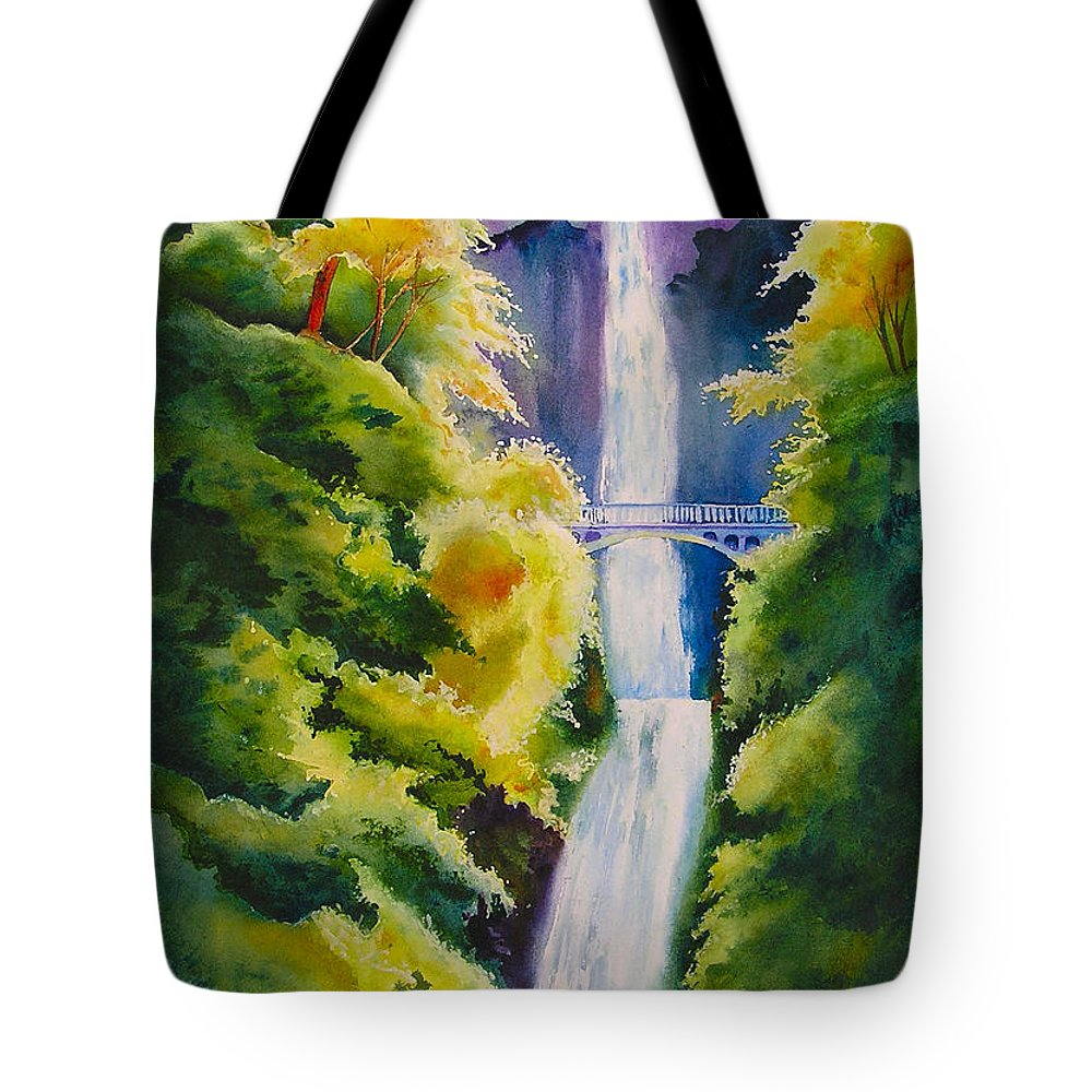 Waterfall Tote Bag featuring the painting A Favorite Place by Karen Stark