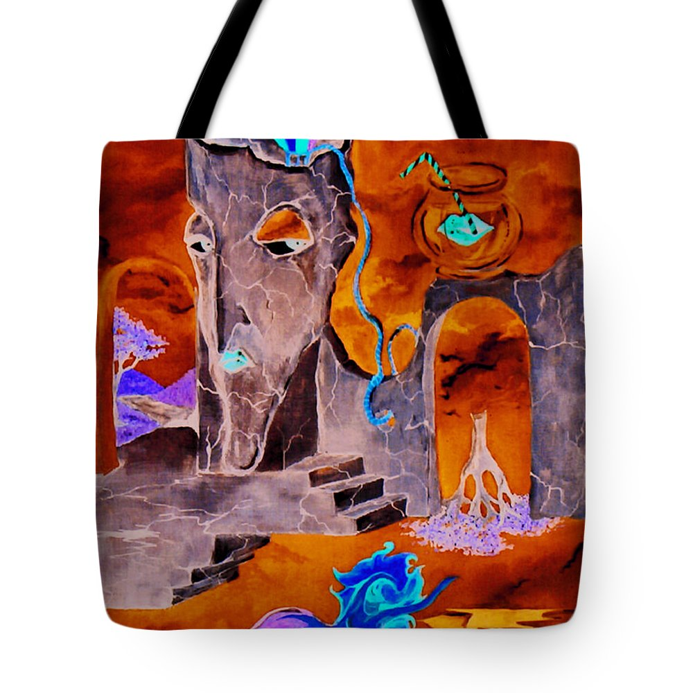Surreal Sky Mermaids Trees Stairs Heaven Tote Bag featuring the painting A Few Seconds In My Head by Veronica Jackson
