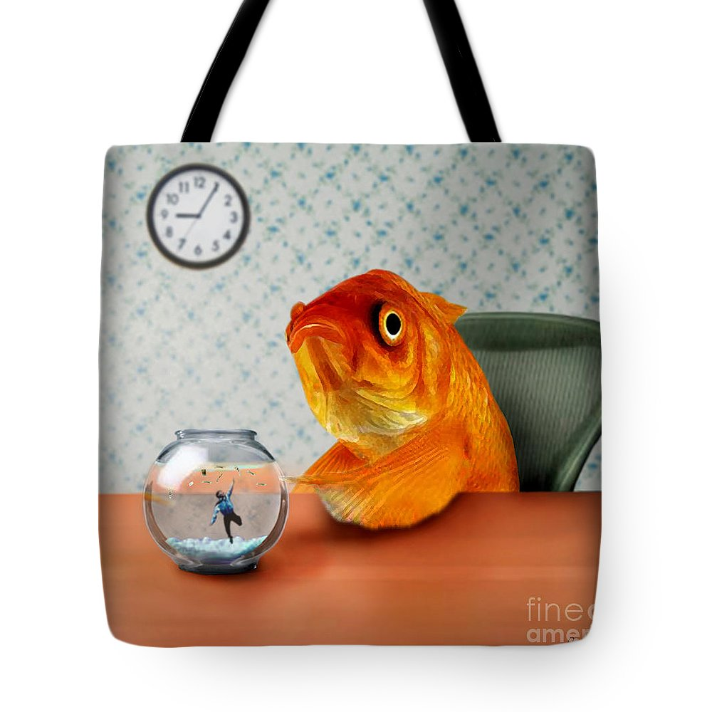 A Fish Out Of Water Tote Bag featuring the mixed media A Fish Out Of Water by Carrie Jackson